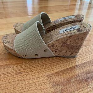 ESPRIT Tan Slide Wedge Sandals